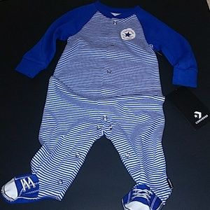 Converse One Pieces - SOLD Converse logo footed sleeper 6m NWT